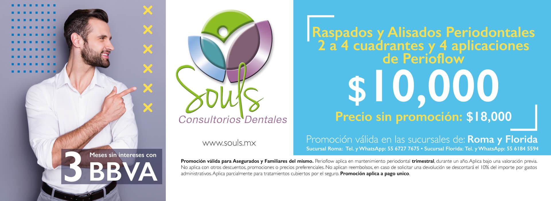 Raspados y alisados periodontales 2 a 4 cuadrantes y 4 aplicaciones de perioflow - Souls Consultorios Dentales